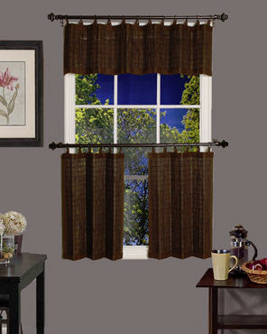 Bamboo Ring Top Kitchen Valance and Tier Curtains handing on curtain rods