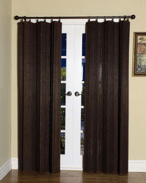 Espresso Bamboo Ring Top Panels hanging on a decorative curtain rod