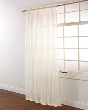 Ecru Splendor Batiste Rod Pocket Sheer Panel hanging on a decorative rod