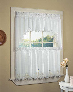 White Battenburg Kitchen Valance, Swags and Tier Curtains hanging on a curtain rod