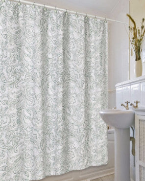 Multi Beaumont Fabric Shower Curtain by Jennifer Adams hanging on a bathroom curtain rod