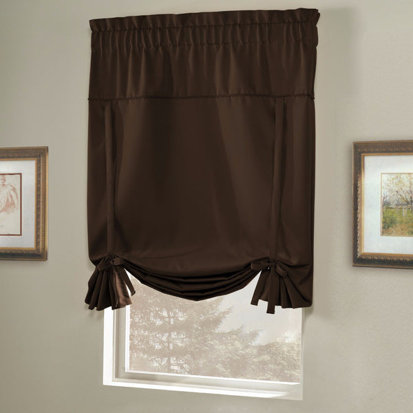Chocolate Blackstone Tie-up Shade hanging on a curtain rod
