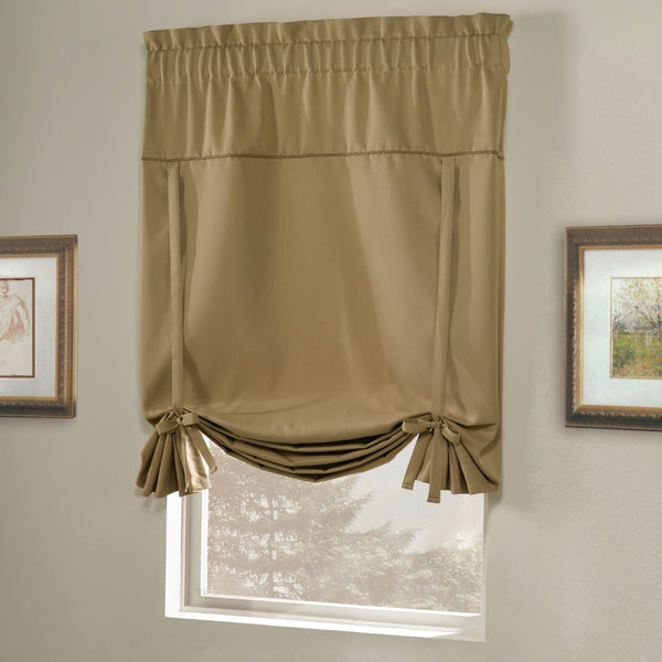 Gold Blackstone Tie-up Shade hanging on a curtain rod