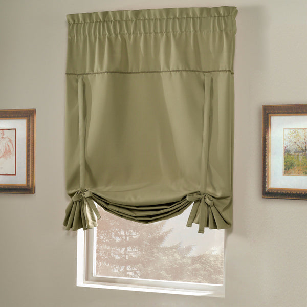 Sage Blackstone Tie-up Shade hanging on a curtain rod