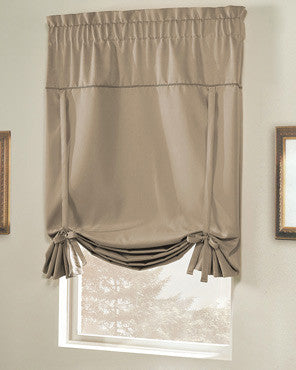 Blackstone Tie-up Shade hanging on a curtain rod