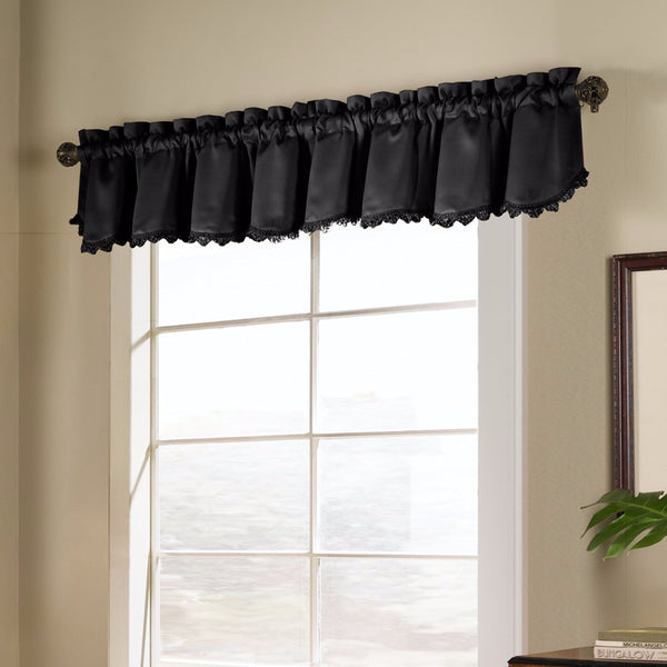 Black Blackstone Valance hanging on a decorative rod
