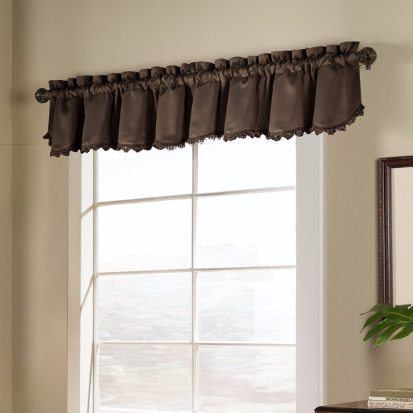 Chocolate Blackstone Valance hanging on a decorative rod