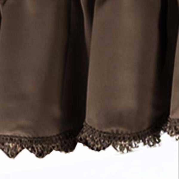 Closeup up of Chocolate Blackstone valance fabric and fringe