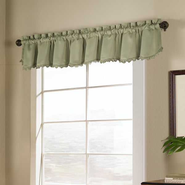 Sage Blackstone Valance hanging on a decorative rod