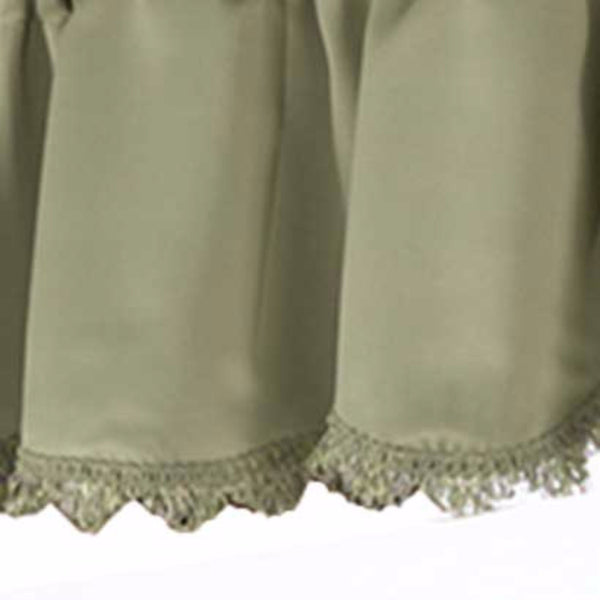 Closeup up of Sage Blackstone valance fabric and fringe