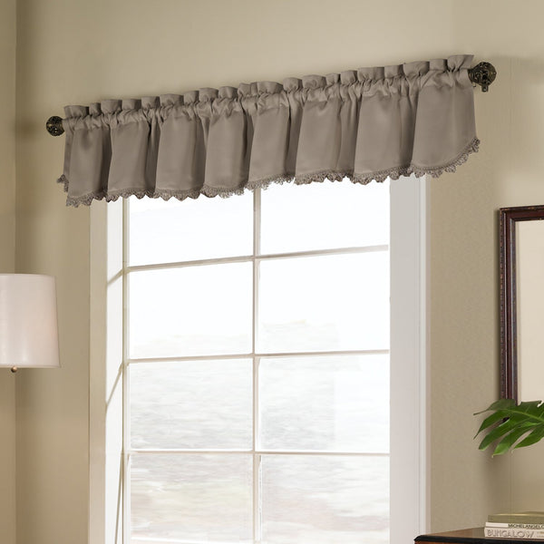Taupe Blackstone Valance hanging on a decorative rod