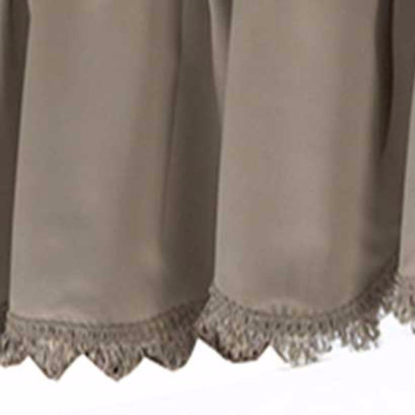 Closeup up of Taupe Blackstone valance fabric and fringe