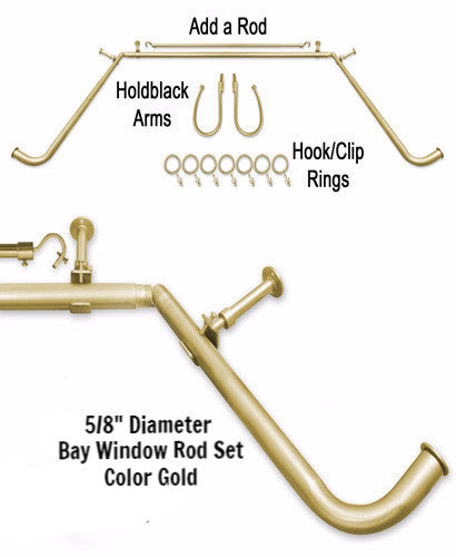 Gold 5/8-Inch Diameter Adjustable Bay Window Curtain Rod Set