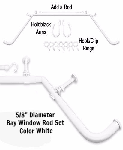 White 5/8-Inch Diameter Adjustable Bay Window Curtain Rod Set