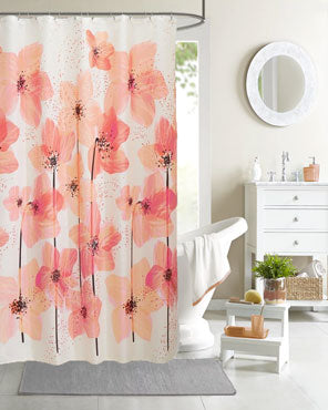 Pink Blossom Fabric Shower Curtain hanging on a bathroom curtain rod