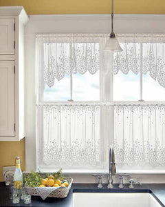 Blossom Lace Kitchen Valance and Tier Curtains hanging on curtain rods