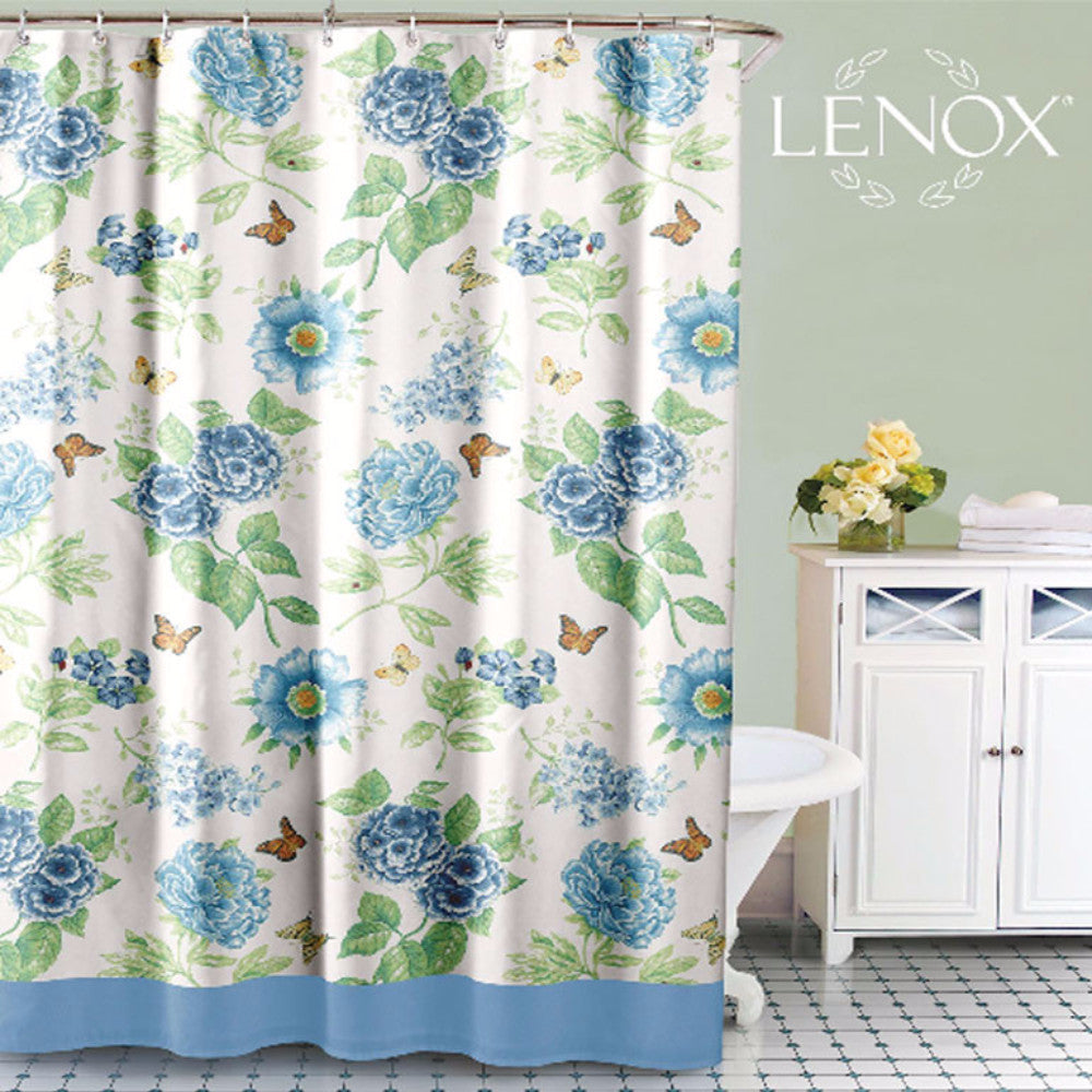 Blue Floral Garden Fabric Shower Curtain by Lenox | Curtainshop.com