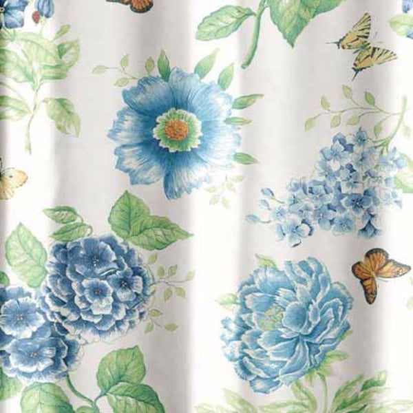 Close up shot of Blue Floral Garden Fabric Shower Curtain by Lenox fabric