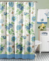 Blue Floral Garden -Fabric- Shower Curtain -by Lenox