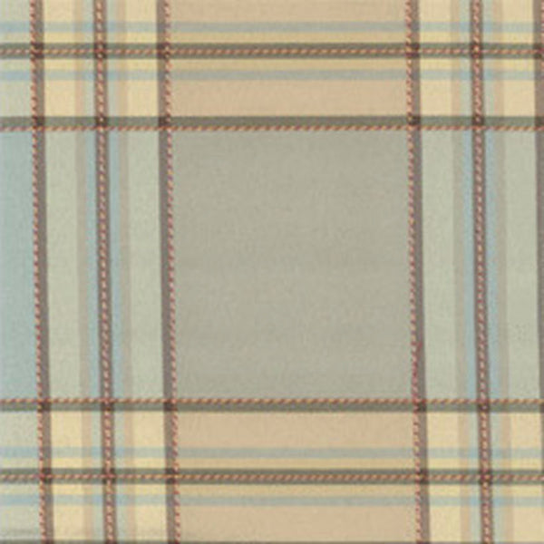 Closeup of Blue Boroughs Plaid Duchess Filler Valance hanging on a curtain rod