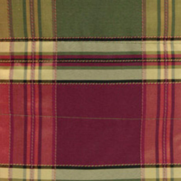 Closeup of Plum Boroughs Plaid Duchess Filler Valance hanging on a curtain rod
