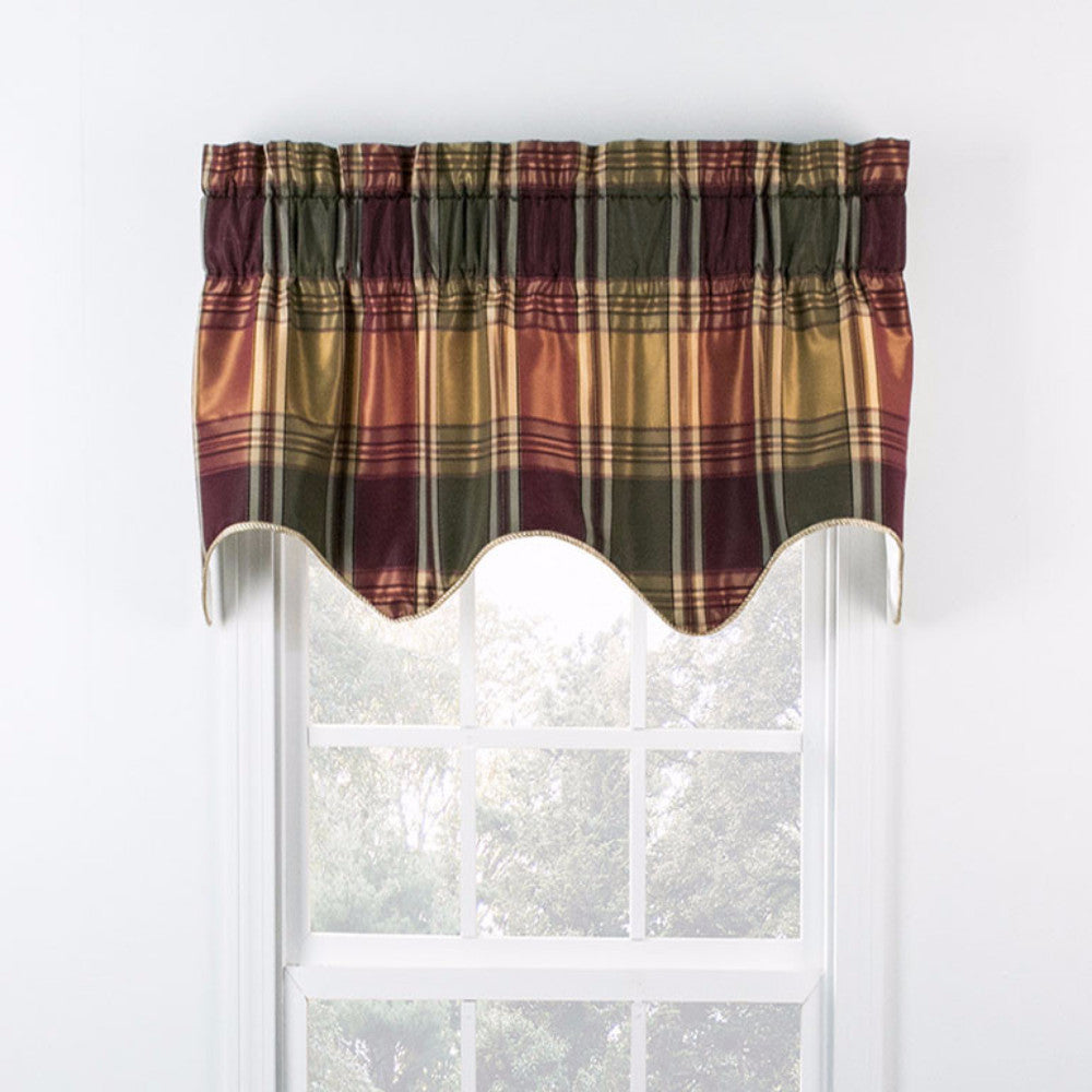 Boroughs Plaid Duchess Filler Valance hanging on a curtain rod