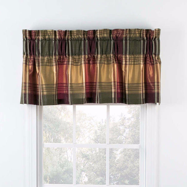 Plum Boroughs Plaid Tailored Valance hanging on a curtain rod