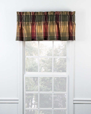 Blue Boroughs Plaid Tailored Valance hanging on a curtain rod