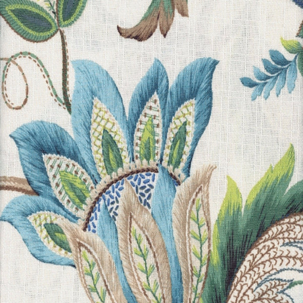 Closeup of Blue Brissac Lined Scalloped Valance fabric