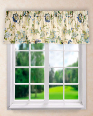 Brissac Tailored Valance hanging on a shower rod