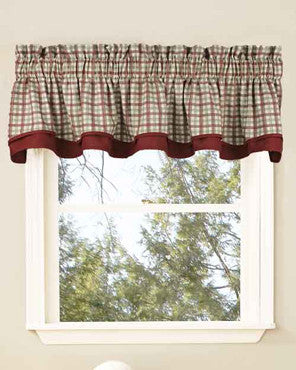 Bristol Plaid Two-Tone Bradford Valance hanging on a curtain rod