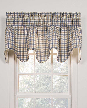 Bristol Plaid Two-Tone Lined Scallop Valance