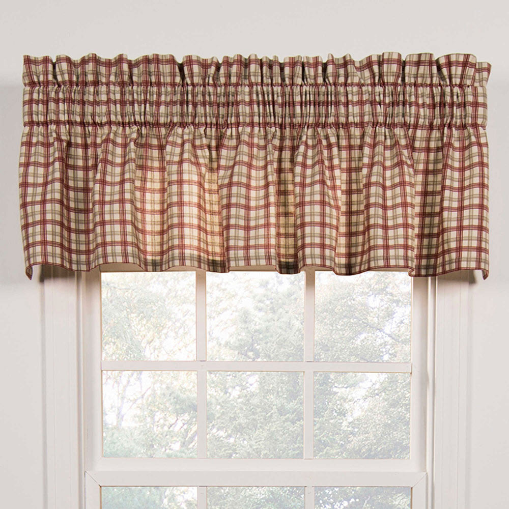 Bristol Plaid Two Tone Kitchen Valance And Tier Curtains