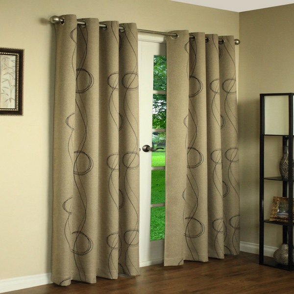 Beige Brooke Printed Grommet Top Panels hanging on a decorative curtain rod