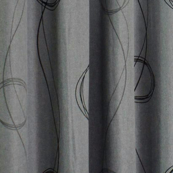 Closeup of grey Brooke Printed Grommet Top Panel fabric