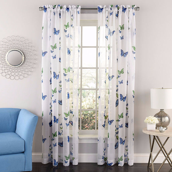 Linen Lorraine Home Fashions: Butterflies Printed Semi Sheer Rod Pocket Panel/ Lorraine