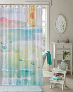 Multi By The Sea Fabric Shower Curtains By Kathy Davis hanging on a bathroom curtain rod