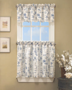 By the Sea Kitchen Valance and Tier Curtains hanging on curtain rods
