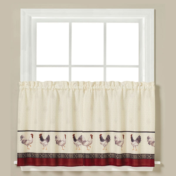 Closeup of Café Francais Country Rooster Kitchen Tier Curtains hanging on a curtain rod