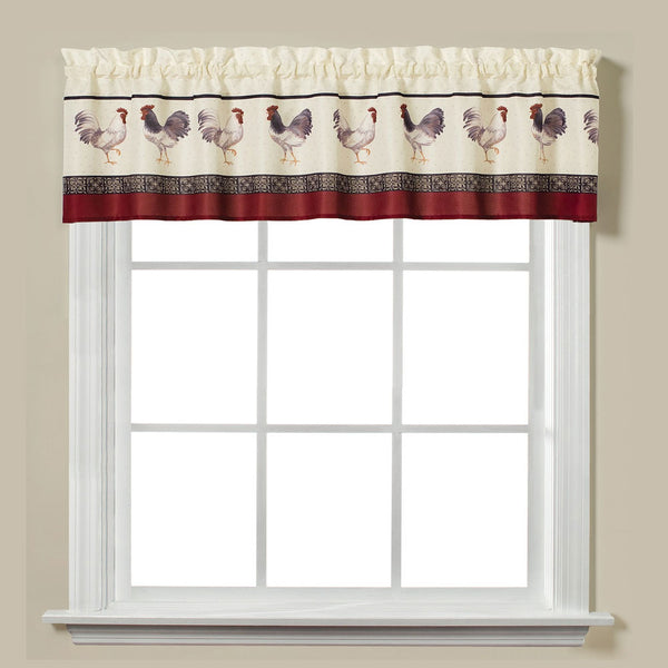 Closeup of Café Francais Country Rooster Kitchen Valance hanging on a curtain rod