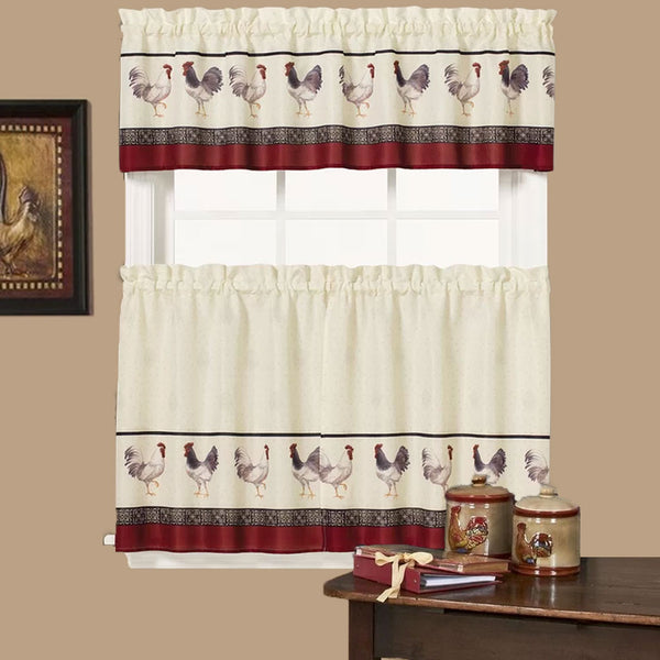 Café Francais Country Rooster Kitchen Valance and Tier Curtains hanging on curtain rods
