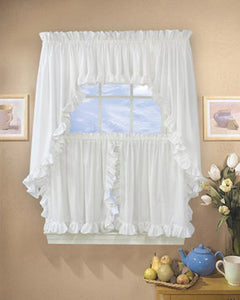 Classic Cape Cod Ruffled Kitchen Valance, Swags, and Tier Curtains hanging on curtains rods