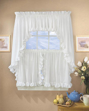 Beau Classic Cape Cod Ruffled Kitchen Valance, Swags, And Tier Curtains Hanging  On Curtains Rods ...