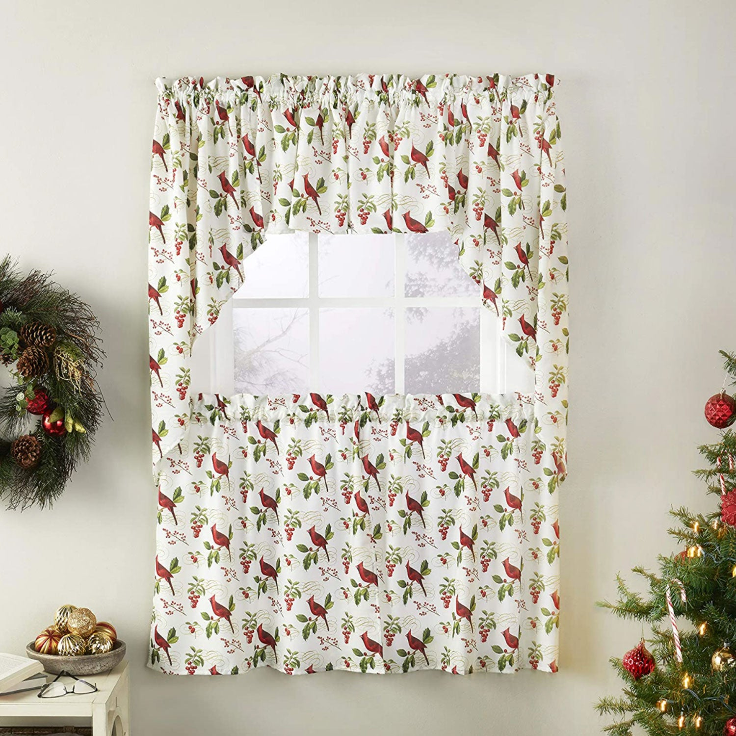 Cardinals & Berries Kitchen Tiers, Valance and Swag