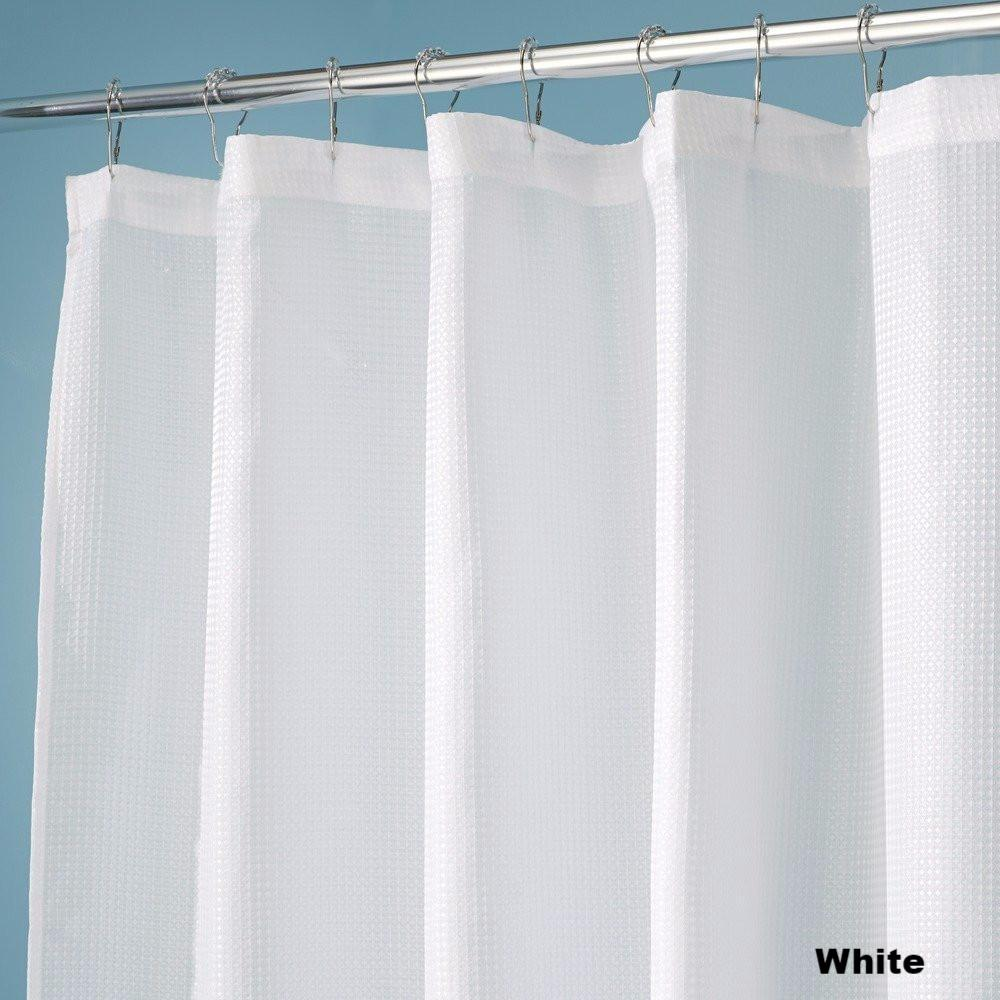 Extra Wide White Fabric Shower Curtain