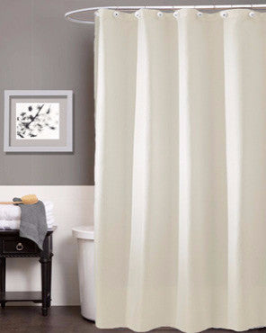 "White Carlton Fabric Shower Curtain (Standard, 108"" Wide, or 84""Long) hanging on a bathroom shower rod"