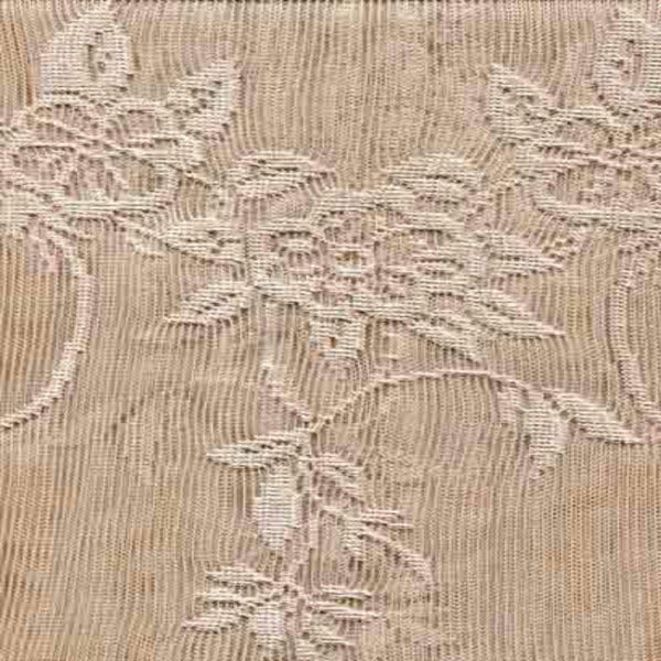 Closeup of Linen Carly Lace Panel with attached Valance of fabric