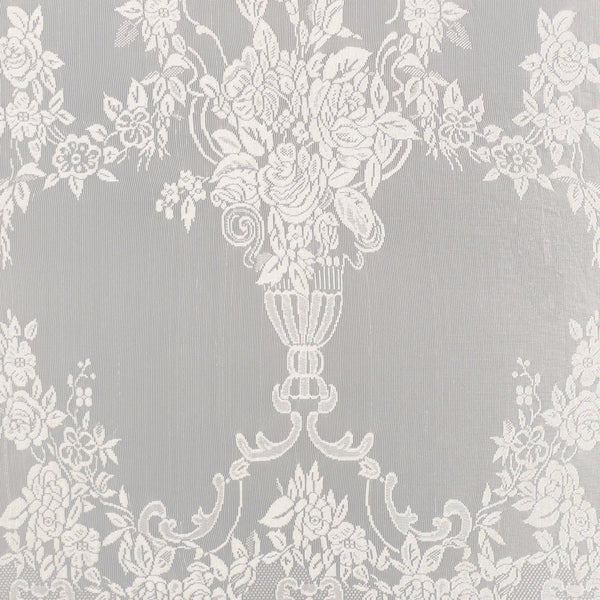 Closeup of White Carly Lace Panel with attached Valance of fabric