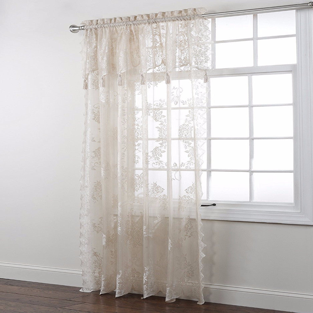 Window curtains design lace panel curtains with attached valance -  Carly Lace Panel With Attached Valance Zoom