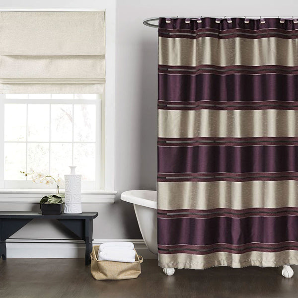 Purple Chantelle Fabric Shower Curtain hanging on a shower curtain rod